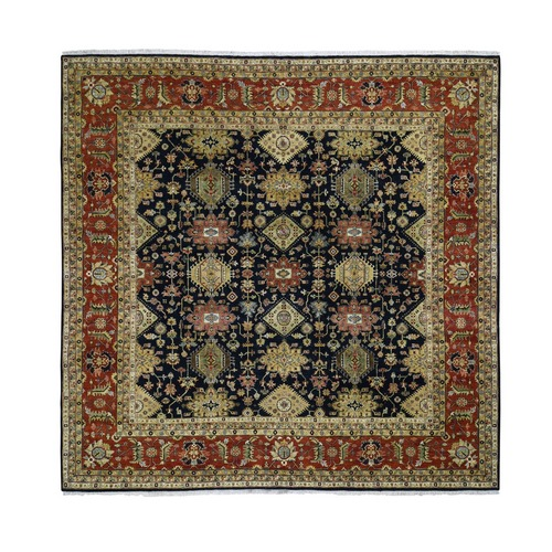 Square Pure Wool Black Karajeh Hand Knotted Oriental Rug