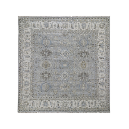 Gray Square Karajeh Design Pure Wool Gray Hand Knotted Oriental
