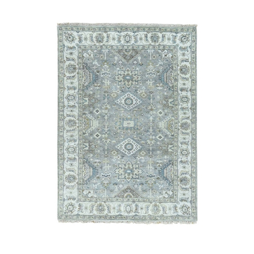 Gray Pure Wool Karajeh Design Hand Knotted Oriental Rug