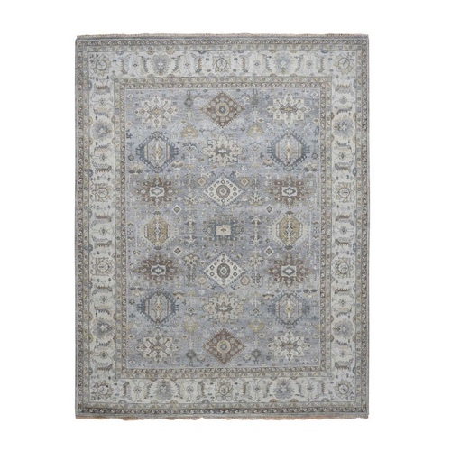 Karajeh Design Pure Wool Gray Hand Knotted Oriental