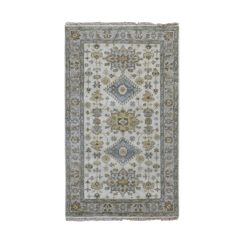 Ivory Karajeh Design Pure Wool Hand Knotted Oriental