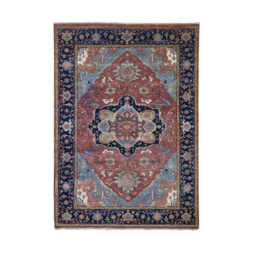 Antiqued Heriz Re-creation Pure Wool Hand-Knotted Oriental Rug
