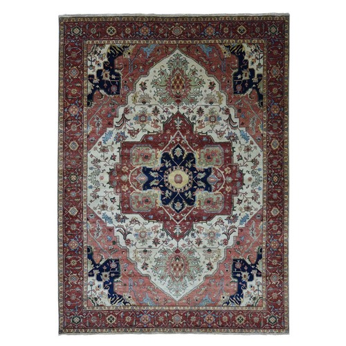 Antiqued Heriz Re-Creation Hand-Knotted Pure Wool Oriental Rug