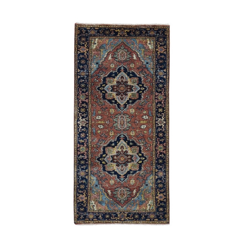 Antiqued Heriz Re-creation Runner Pure Wool Hand Knotted Oriental Rug
