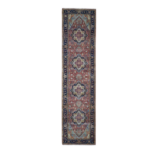 Antiqued Heriz Re-creation Pure Wool Runner Hand Knotted Oriental Rug