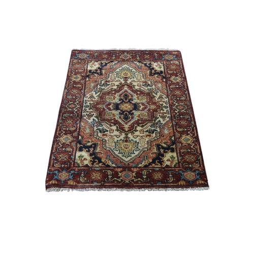 Antiqued Heriz Re-Creation Hand Knotted Pure Wool Oriental Rug