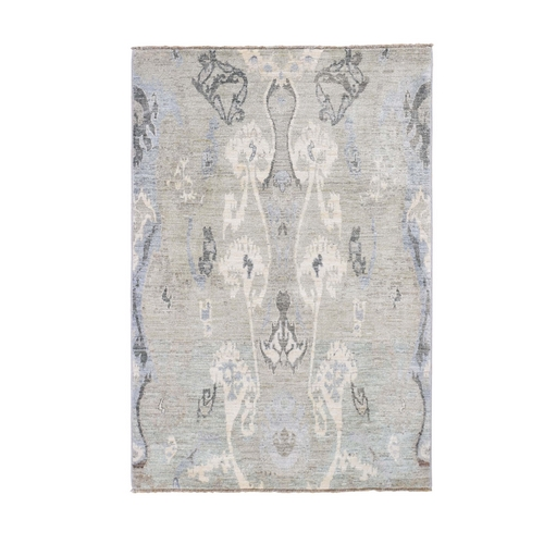 Gray Ikat Design Peshawar Pure Wool Hand Knotted Oriental