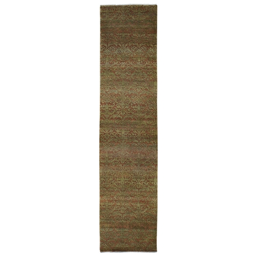 Brown Damask Wool and Silk Tone on Tone Runner Hand Knotted Oriental Rug
