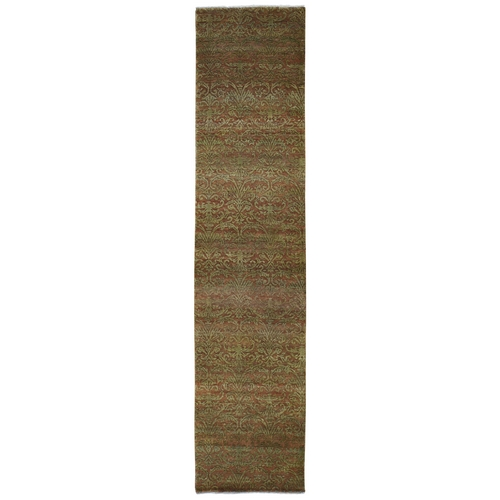 Brown Damask Wool and Silk Tone on Tone Runner Hand Knotted Oriental