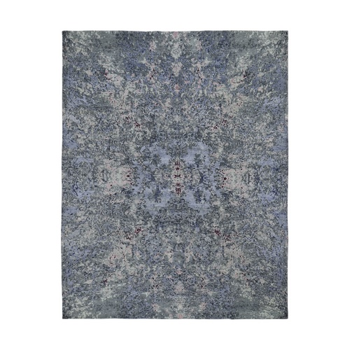 Wool and Silk Abstract Design Hand-Knotted Oriental Rug