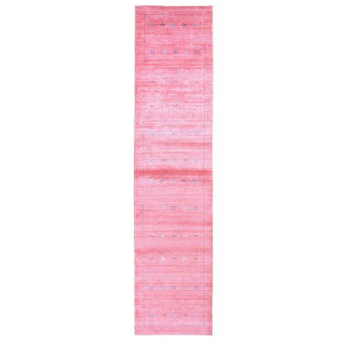 Pink Wool and Silk Hand Loomed Gabbeh Runner Oriental