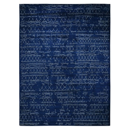 Navy Blue Wool And Silk Modern Hand loomed Oriental