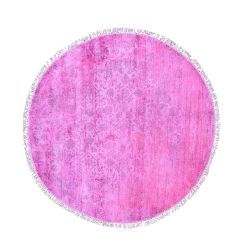 Pink Round Overdyed Silk Mahi Design Hand Knotted Oriental