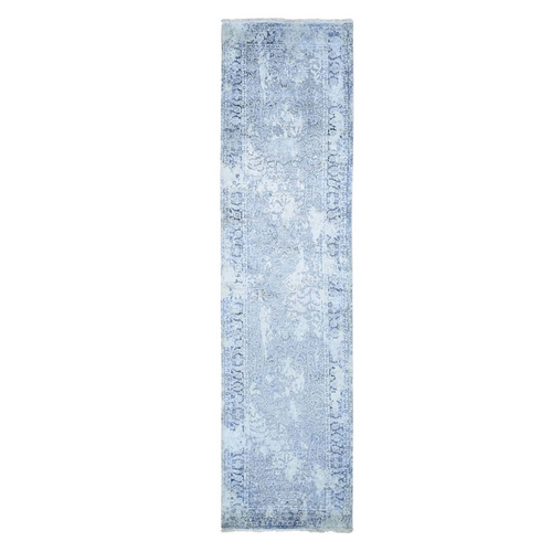 Gray Broken Persian Design With Pure Silk Runner Hand Knotted Oriental Rug
