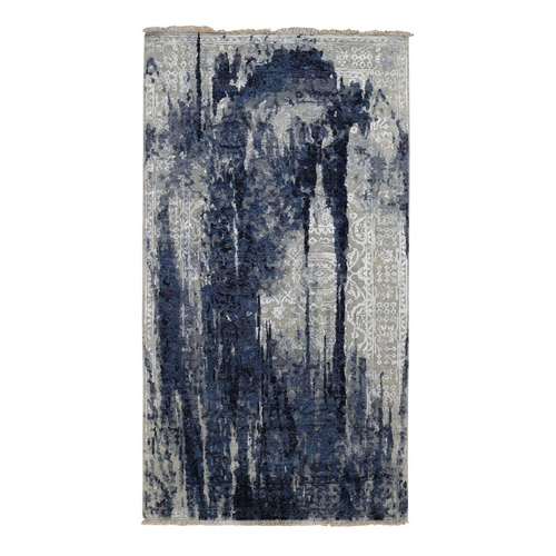 Gallery Size Wool And Silk Shibori Design Tone On Tone Hand Knotted Oriental
