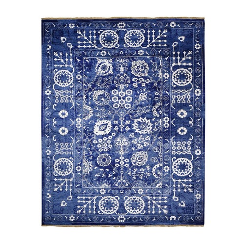 Blue Wool And Silk Tone On Tone Tabriz Oriental Hand Knotted Rug