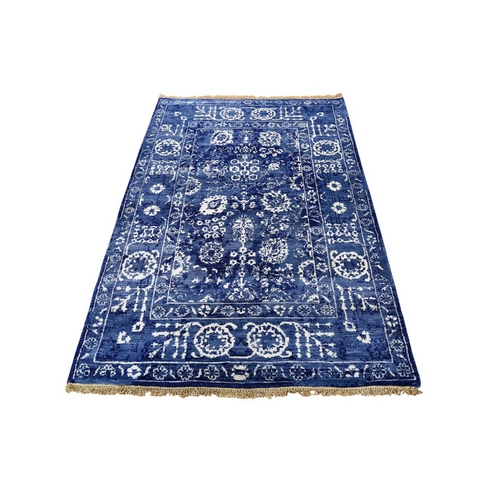 Blue Wool and Silk Tone On Tone Tabriz Hand Knotted Oriental Rug