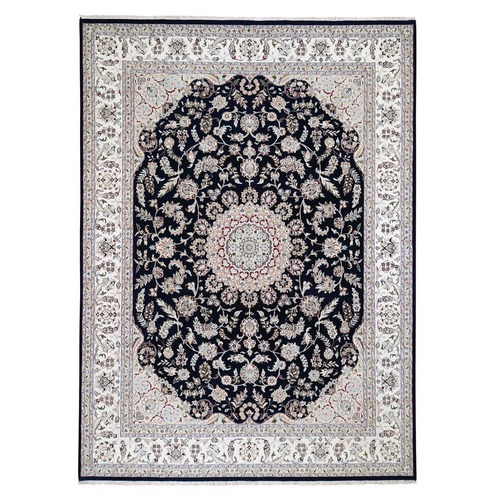 Navy Blue Nain Wool and Silk 250 Kpsi Hand Knotted Oriental Rug