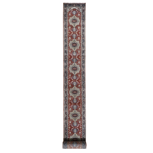 Red Heriz Revival Pure Wool Hand Knotted XL Runner Oriental
