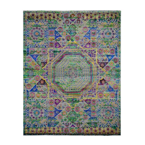 Colorful Sari Silk Mamluk Design Hand Knotted Oriental Rug