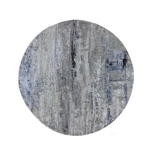 Gray Hi low Pile Abstract Design Round Wool And Silk Hand Knotted Oriental Rug