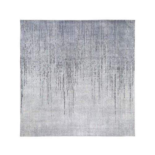 Square Ombre Design Pure Silk Hand Knotted Oriental