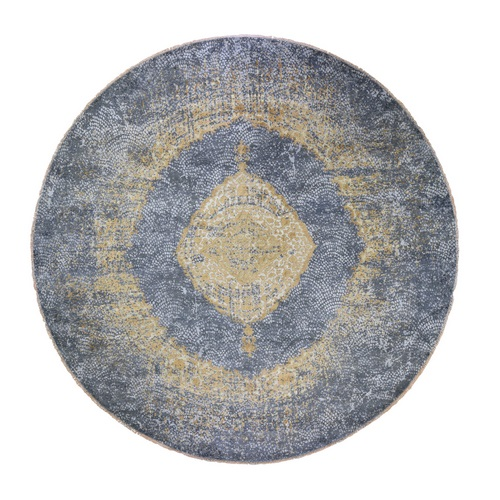 Round Gold Persian Design Wool And Pure Silk Hand Knotted Oriental Rug