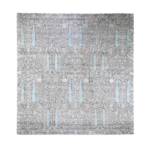 Cypress Tree Design Silk with Textured Wool Hand Knotted Square Oriental Rug