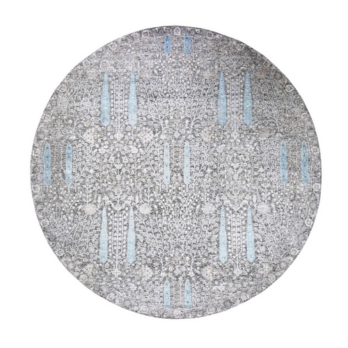Round Cypress Tree Design Silk with Textured Wool Hand Knotted Oriental Rug