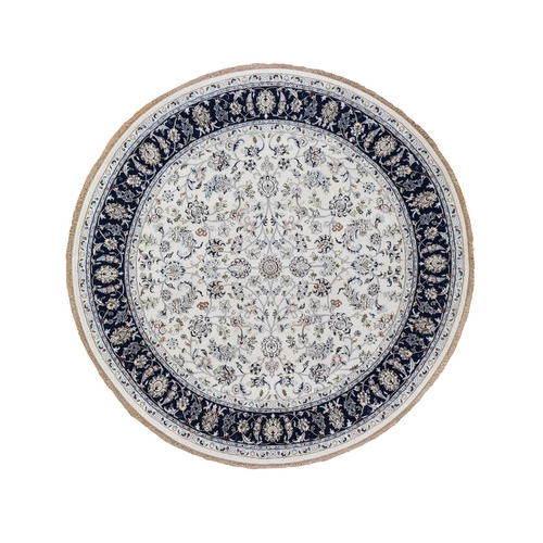 Ivory Nain Wool And Silk 250 KPSI All Over Design Hand Knotted Round Oriental Rug