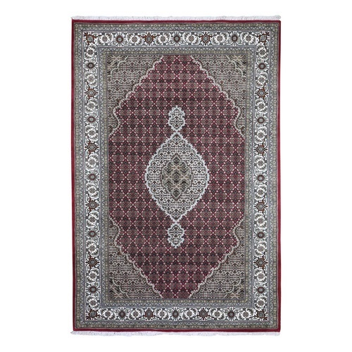 Red Tabriz Mahi Wool and Silk Hand Knotted Oriental Rug