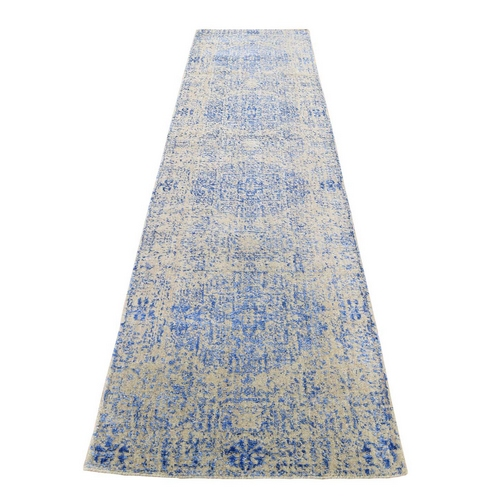 Wool And Silk Mamluk Design Jacquard Hand Loomed Runner Oriental Rug