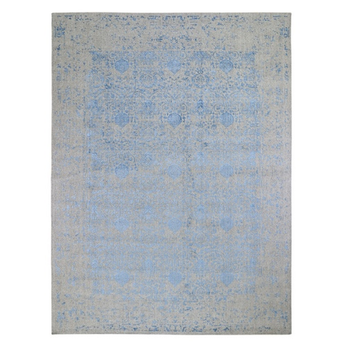 Blue Hand Loomed Wool and Art Silk Modern Pomegranate Design Oriental Rug