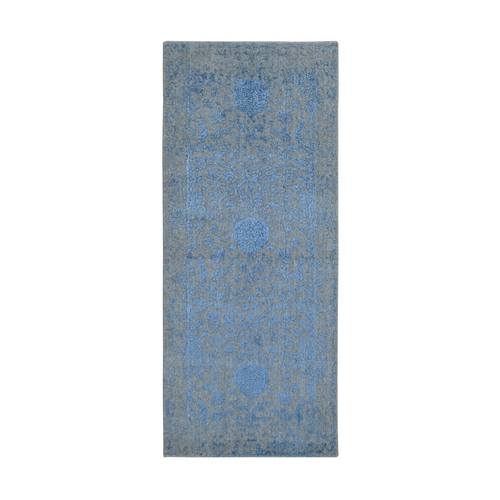 Blue Jacquard Hand Loomed Wool and Art Silk Pomegranate Design Runner Oriental Rug