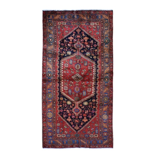 Gallery Size Red Vintage Persian Hamadan Pure Wool Hand Knotted Oriental Rug