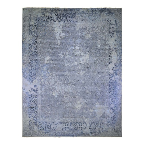 Oversized Gray Broken Persian Design Wool With Pure Silk Hand Knotted Oriental Rug