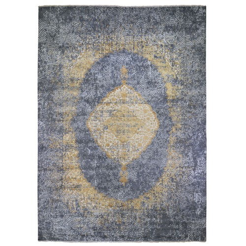 Gold Persian Design Wool And Pure Silk Hand Knotted Oriental Rug