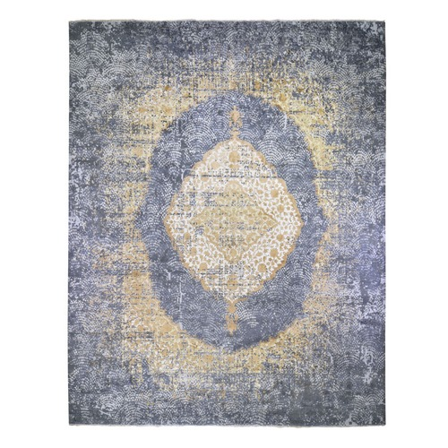Oversized Gold Persian Design Wool And Pure Silk Hand Knotted Oriental Rug