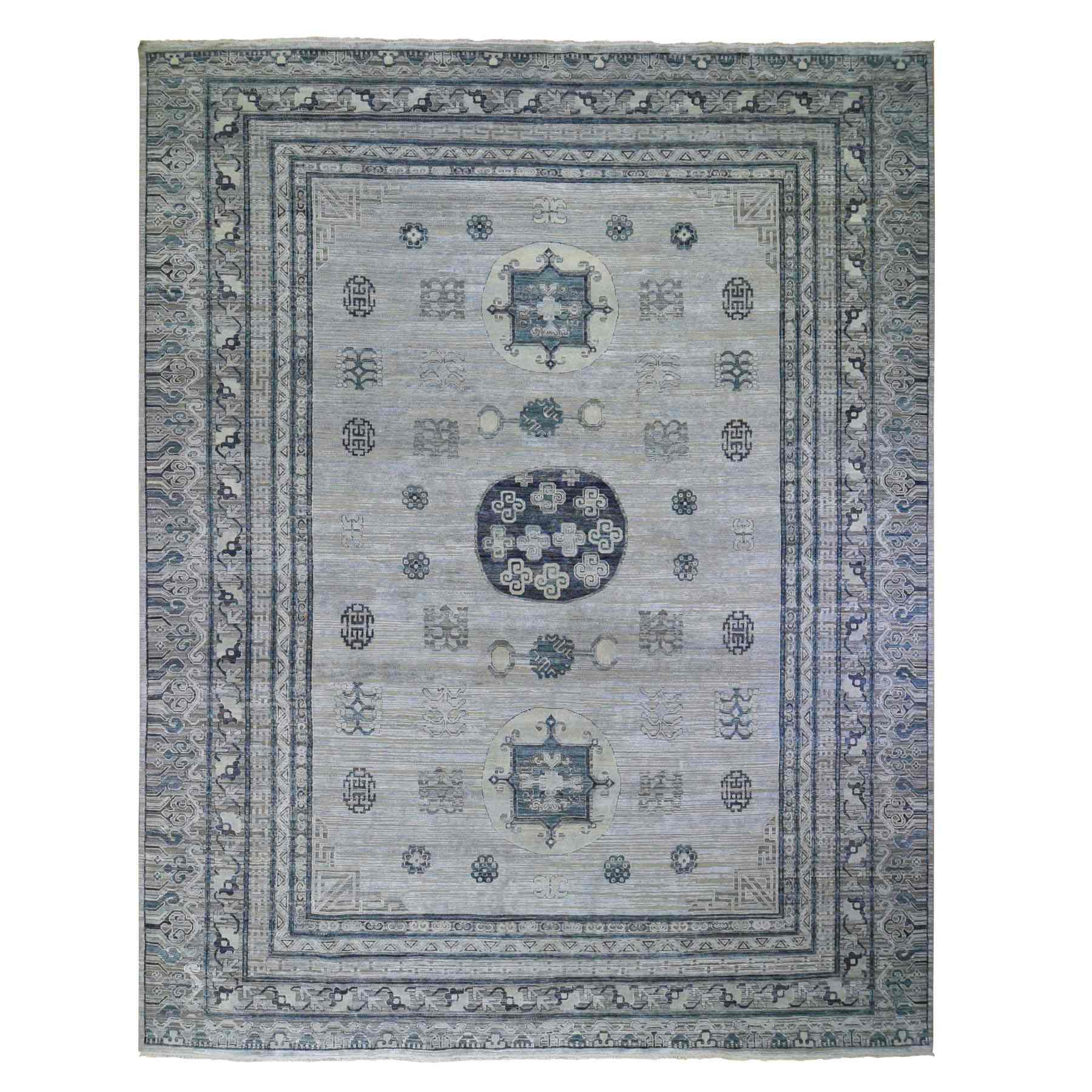 Oversized Silver-Blue Khotan Design Pure Silk and Textured Wool Hand Knotted Oriental Rug