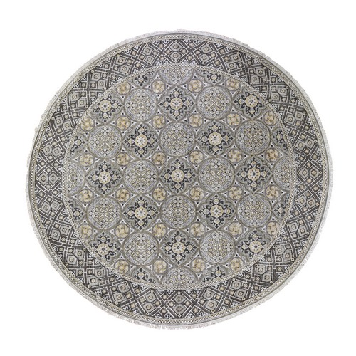 Oversized Round Silk With Textured Wool Mughal Inspired Medallions Hand Knotted Oriental Rug
