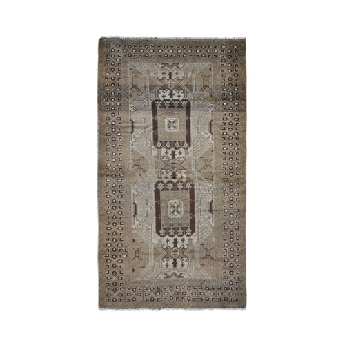 Washed Out Afghan Baluch With Natural Colors Pure Wool Wide Runner Hand Knotted Oriental