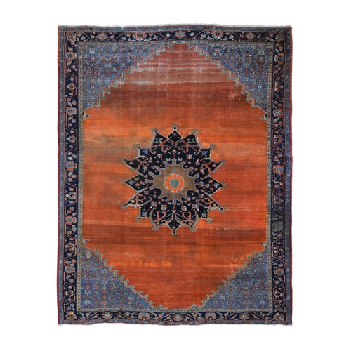 Orange Antique And Worn Persian Afshar Open Filed With Medallion Hand Knotted Oriental