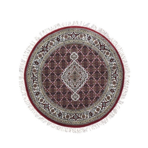 Round Red Tabriz Mahi Wool and Silk Hand Knotted Oriental Rug