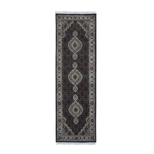 Black Tabriz Mahi Wool and Silk Runner Hand Knotted Oriental Rug