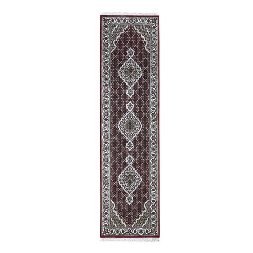 Red Tabriz Mahi Wool And Silk Runner Hand Knotted Oriental Rug
