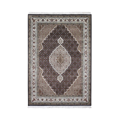 Black Tabriz Mahi Wool And Silk Hand Knotted Oriental Rug