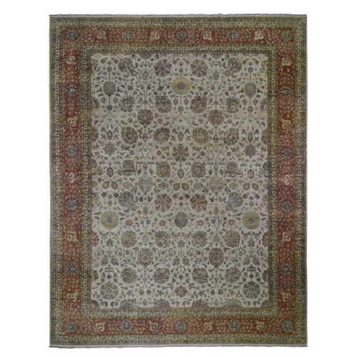 Velvet Feel Tabriz New Zealand Wool 300 KPSI Hand Knotted Oriental