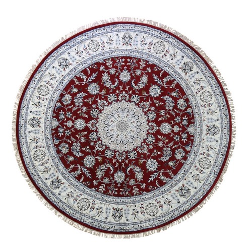 Red Nain Wool And Silk 250 KPSI  Hand Knotted Round Oriental Rug