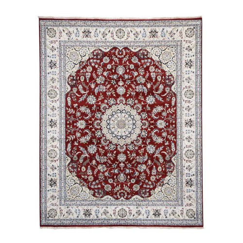 Wool And Silk 250 KPSI Red Nain Hand Knotted Oriental Rug