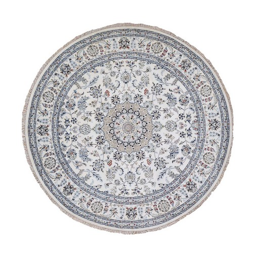 Round Ivory Nain 250 KPSI Wool And Silk Hand Knotted Oriental Rug